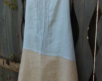 Linen apron, one-of-a-kind, eco-friendly, up-cycled