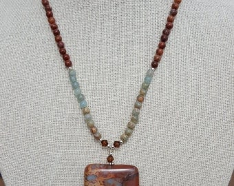 Small Impression Jasper and Sterling Silver Necklace with Large Drop, African Opal Jasper Necklace with Large Rectangle Drop - Adjust Length