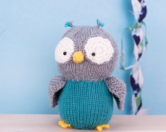 Stuffed Owl, Knit Owl, Plush Toy, Stuffed Animal, Baby Gift, Soft Toy, Handmade Toy, Knit Toy, Baby Shower Gift, Gift For Boy, Gift For Girl