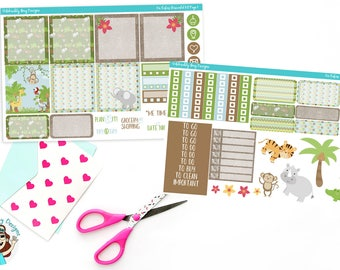 Horizontal On Safari Jungle Themed Weekly Planner Sticker Kit for Erin Condrenr, Recollections Spiral or A5 Horizontal