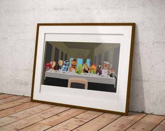 The Muppets Parody print, Funny Muppets Art, The Last Supper Parody, The Muppets art, Funny Parody Art
