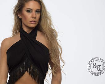 Festival Clothing, Crop Top, Boho Crop Top, Rave Outfit, Burning Man Clothing Women, Rave Clothing, Rave Crop Top, Fringe Crop Top