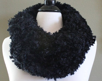 Faux Fur Double Loop Arm Knit Scarf