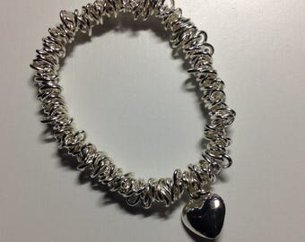 Silver plated heart charm bracelet
