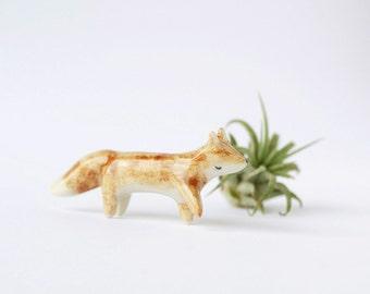 Miniature Ceramic Wandering Fox Totem - Ceramic Fox, Terrarium Figurine, Miniature Fox, Animal Figurine, Miniature Animal