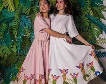 Mermaid Dress, Stars, Evening & Day Dress, Bohemian dress, Summer Dress, Ivory, Pink dress, Midi dress, Loose Fitting Dress, Elegant dress