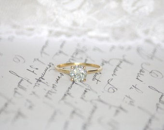 6.65mm Moissanite in 9K Yellow Gold 4 Claw Solitaire Ring