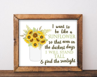 Inspirational Quote, Sunflower, Printable, mason jar decor, sunflower decor, mason jar wall decor, mason jar printable, wall art, quotes