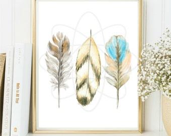 Feather Art Print, Watercolor Print, Feather Art, Modern Wall Art, Digital Download, Home Decor, Printable Wall Art, Lodge Decor, Boho Decor