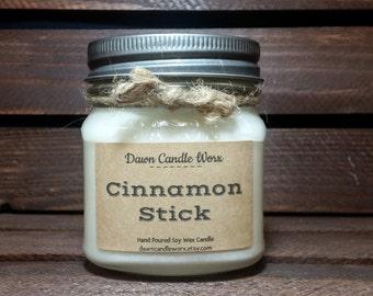 Cinnamon Soy Candle - 8oz Mason Jar Candles  - Holiday Candles - Housewarming Gifts - Soy Candles Handmade - Christmas Candle