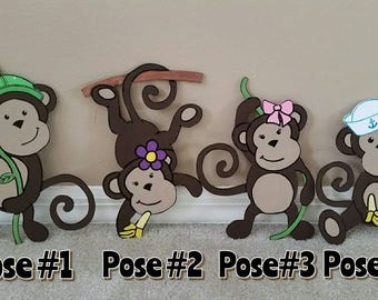 ONE 10 inch monkey cutout (Great for a kid's bedroom or bathroom) *customizable*