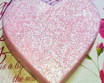 Pink Heart Shaped Soap/Black Bleeding Heart/Pink Bleeding Heart/Novelty Gift/Glitter Soap/Hemp Oil/Shea Butter/Sweet Almond Oil