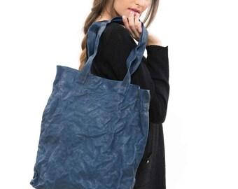 Blue large tote bag, Large Work tote, Wrinkled leather bag, Leather Tote Bag, Blue teacher tote bag, blue casual bag