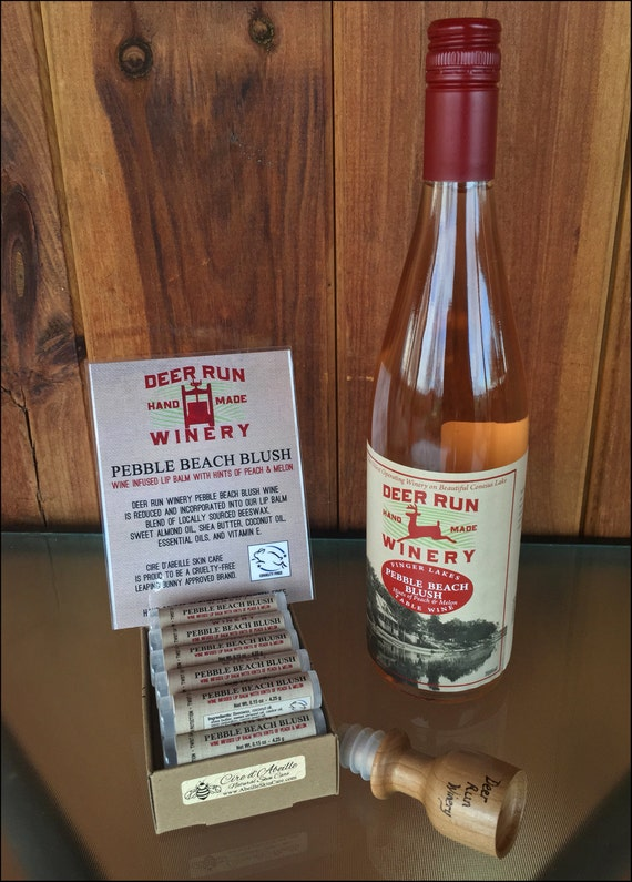 Deer Run Winery Pebble Beach Blush wine infused lip balm by Cire d'Abeille™ - Gluten Free