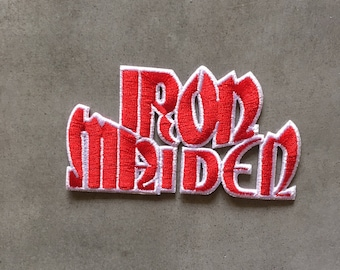 """Iron Maiden iron on embroidered patch (aprox. 3"""" x 1.75"""")"""