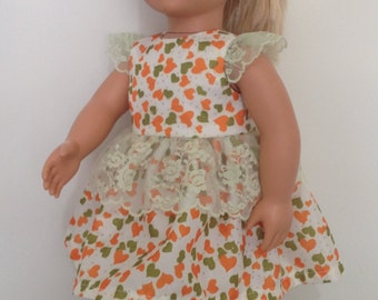 Soft silk dress with lace trim  in bright love-heart print with sparkles for American Girl or Our Generation 18in dolls