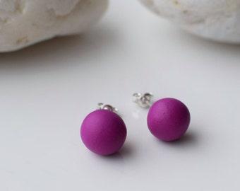 Purple Stud earrings, Minimal silver earrings, Small Ball earrings, Polymer clay earring, Simple Beaded stud earrings, Everyday earrings