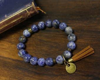 Denim Natural Stone Tassel Bracelet