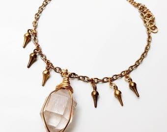 SALE 25% Herkimer Diamond Choker - vintage choker, gold choker, crystal choker, gold necklace, gold jewelry, quartz necklace, quartz choker