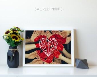 Red Heart Poster, Geometric Heart Decor, Geometric Heart Art, Peace Sign Wall Art, Hands Together Poster,Red Love Poster,Love Geometry Photo