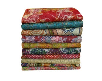 10 Pcs Lot Of Vintage Reversible Kantha Work Long Girl's Wrap,Vintage Kantha Scarve,Silk Sari Indian Kantha Stole,Hand Stitched Women Shawls