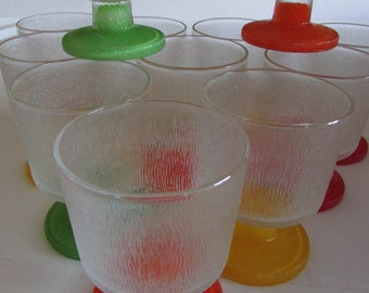 Vintage Short Stemmed Ice Cream Glasses darling and perfect for drinks ice cream or a collection several colored stems, great condition