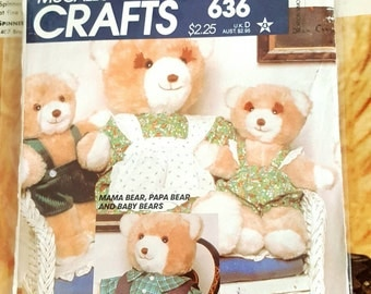 1980 McCall's 636 Teddy Bear Family and Wardrobe Uncut FF Sewing Pattern ReTrO Plush!