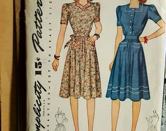 1942 Simplicity 4102 Mother's Dress With Heart Shaped or Square Neckline Size 16 UNCUT FF Sewing Pattern ReTrO 40s!