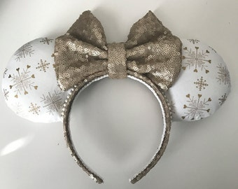 Gold and White Winter / Holiday / Christmas Minnie Mouse Ears