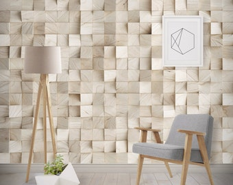 Timber Cube Texture Wallpaper, Printed, Wall Decor, Removable Wallpaper
