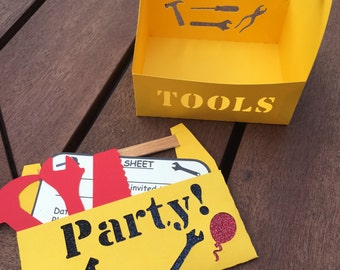 Construction Toolbox Party Pack - Invitations & Party Favours 12pk
