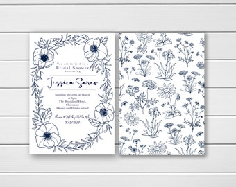 Elegant Bridal Shower Invite, Navy Bridal Shower, Garden Party Hens Night, Blue Bridal Shower Invitation, Classy Hens Invites, Printable