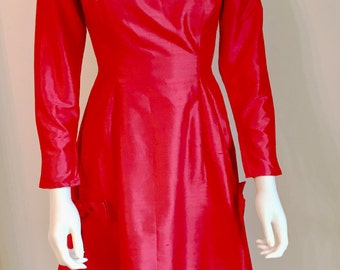1960s dress / Liberty of London / Red Silk Couture with Bows / XS-S