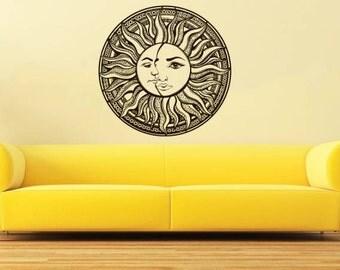 Moon Wall Decal Vinyl Sticker Decals Sun And Moon Crescent Dual Ethnic Night Symbol Sunshine Bohemian Decor Nursery Bedroom NV156