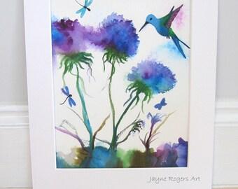 ORIGINAL PAINTING - Hummingbird, Dragonfly, Butterfly, Flower Wall Decor- Contempary Art - UK Artist - uk Seller - Modern