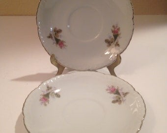 Moss Rose Set of 2 Saucers only, Royal Rose by Fine China of Japan, Replacement Part Made in 1950's