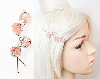pink hair barrette raw stone jewelry pink hair accessory boho hair pin unique jewelry for women gifts cherry quartz hair clip statement h34
