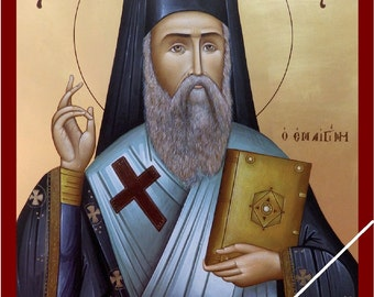 Saint Nectarios of Pentapolis / Aegina, orthodox icon byzantine, Άγιος Νεκτάριος Αιγίνης επίσκοπος Πενταπόλεως, original, painted on request