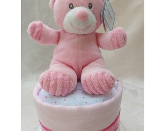 Single One Tier Pink Nappy Cake with Pink Bonnie Bear New Baby Gift