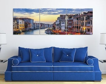 Grand Canal with Gondolas at Sunset in Venice Leather Print/Large Wall Decor/Venice Wall Art/Multi Panel Wall Art/Better than Canvas!