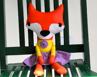 Fox, Orange, Stuffed Fox, Girl Fox, Purple and yellow, toy fox, plush fox, baby toy, kids toy, stuffed animal, Dressed Girl Fox, Home Decor