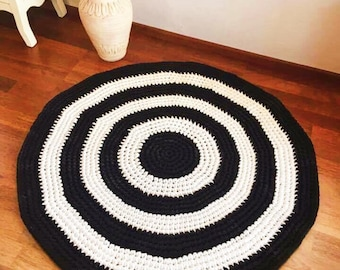 "Round crocheted rug D92cm D36'2"" black and white doily rug, handmade"