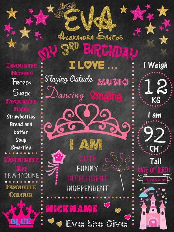 Princess, tiara, 1st Birthday chalkboard, baby's first birthday, first birthday chalkboard, personalized, digital file, birthday chalkboard