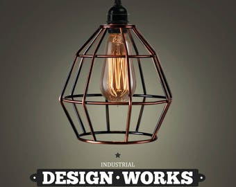 Industrial Lighting Copper Lighting Style Ceiling Light With Beautiful Copper Cage Lampshade, A Stunning Copper Light