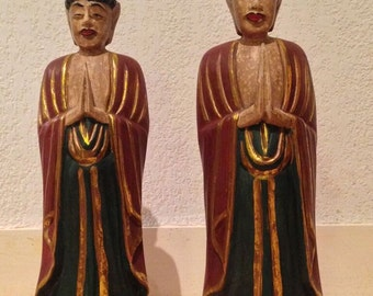 Two hand carved wooden statuettes, Indonesia, ethnic art, monks