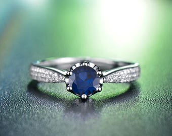 Round Cut Blue Sapphire Engagement Ring 14k White Gold Art Deco Natural Blue Sapphire Ring September Birthstone Anniversary Ring