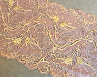 """18cm 7"""" Wide Stretch Lace Soft Pink Gold Floral Lilly Floral DIY Lingerie Underwear Summer Bridal Intimages"""