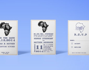 African Themed Wedding Invitation Set (pack x25)