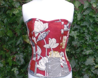 Water's Edge Corset, Linen Overbust Boned, Front Busks and Ribbon Lacing at the Back