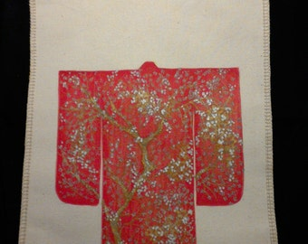 Unbleached cotton shopping bag 6 kimono-handpainted red Kimono with Golden and silver flowers